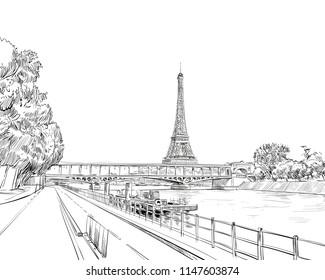 View of the bridge Le Pont de Bir-Hakeim and the Eiffel Tower. Paris, France. Urban sketch. Hand drawn vector illustration