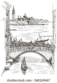 View from the Bridge of Sighs on San Giorgio Maggiore, Venice. Vector illustration.
