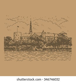 View of the Castle on the banks of River Daugava in Riga, Latvia. Vector freehand pencil sketch.