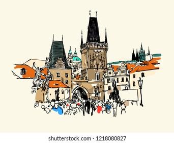 A view of the Charles Bridge tower in Prague sketch drawing, Czech Republic, vector illustration