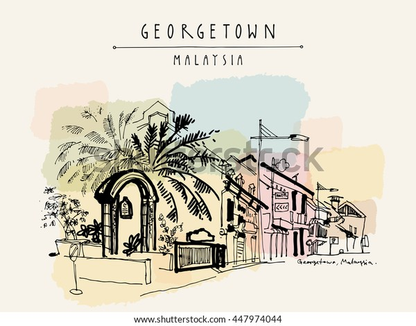 View of Chulia street in Georgetown, Penang, Malaysia, Southeast Asia. Mosque entrance gate, palm trees. Hand drawing. Travel sketch. Vintage artwork. Book illustration, postcard or poster in vector