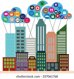 View of the city in style flat with cloud app icons , vector illustration