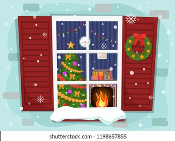 View of the cozy Christmas living room with a tree and fireplace through the window. Flat design.