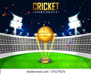 View of a cricket stadium in night background with golden trophy.