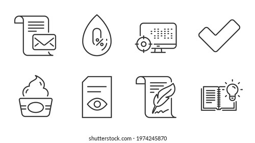 View document, Feather and No alcohol line icons set. Seo, Tick and Product knowledge signs. Mail letter, Ice cream symbols. Open file, Copyright page, Mineral oil. Business set. Vector