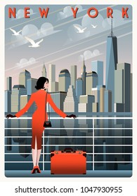 View of Downtown of New York. Handmade drawing vector illustration. Retro poster. All buildings is different objects.