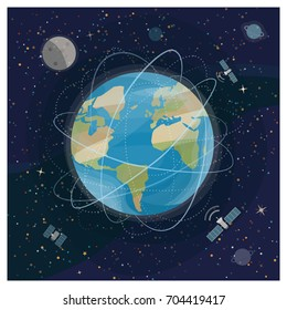 View of earth from space with satellites and galaxies in the background, global telecommunications concept