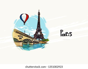 View of Eiffel tower and bridge. Paris. Air balloon in the color of the flag of France