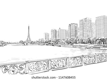 View of the Eiffel Tower and the modern city. Paris, France. Urban sketch. Hand drawn vector illustration