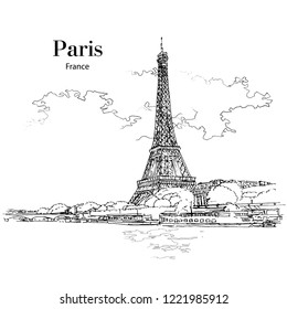 VIEW TO EIFFEL TOWER, PARIS, FRANCE, hand drawing sketch. Vector, poster, calendar, post card