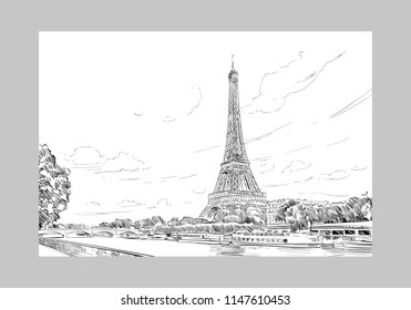 View of the Eiffel Tower and Sena River. Paris, France. Urban sketch. Hand drawn vector illustration