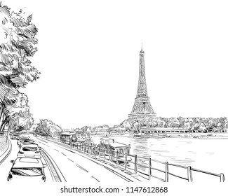 View of the Eiffel Tower and Sena River with floating restaurant. Paris, France. Urban sketch. Hand drawn vector illustration