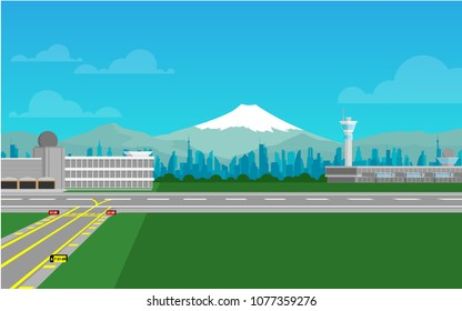 View of empty airport with taxiway and runway,airport terminal,air traffic control tower also the city scape no mountain range with Fuji mountain in the background