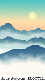 View hill nature green tone. Sunrise and mist in the mountains on colorful sky. Vector illustration.