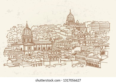 view of historic center of Rome, Italy