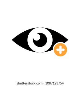 View icon with add sign. View icon and new, plus, positive symbol. Vector illustration