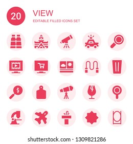 view icon set. Collection of 20 filled view icons included Binoculars, Louvre, Telescope, Police car, Find, Television, View, Skipping rope, Glass, Search, Cutting board, Magnifier