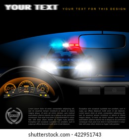 View from inside the car on the police car in night with lights. Page template design. Vector illustration.
