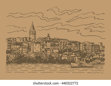 View from Istanbul with Galata Tower. Seafront of Karakoy, Istanbul, Turkey. Sketch by hand. Vector illustration.
