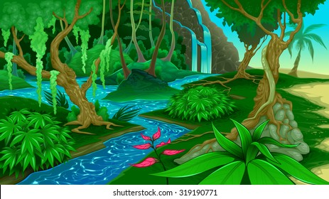 View in the jungle. Vector illustration