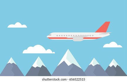 View of a large and fast airliner flying over the mountains between clouds on a blue sky - vector