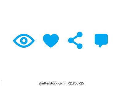View, like, share, comment icons on white