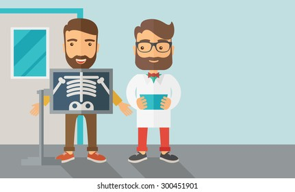 A view of man is holding a X-ray picture.  Contemporary style with pastel palette, soft blue tinted background. Vector flat design illustrations. Horizontal layout with text space in right side.