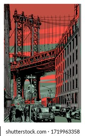 View of Manhattan Bridge from brooklyn - vector illustration (Ideal for printing on fabric or paper, poster or wallpaper, house decoration)