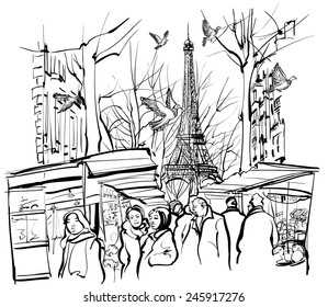 view of a market in Paris near the Eiffel tower - vector illustration