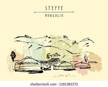 View of Mongolia. Yurts (gers) traditional Mongolian dwellings in Mongolian steppe. Mountains on background. Travel sketch. Brushpen graphic art. Handdrawn vintage book illustration, postcard. Vector