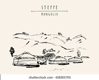 View of Mongolia. Yurts (gers) traditional Mongolian dwellings in Mongolian steppe. Mountains on background. Travel sketch. Brush pen graphic art. Hand drawn vintage book illustration, postcard. Vector