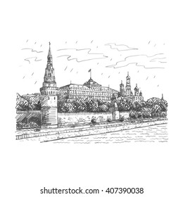 View of Moscow Kremlin and Moscow River, Russia. Sketch by hand. Vector illustration