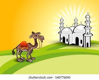 View of Mosque and camel concept for Ramadan Kareem.