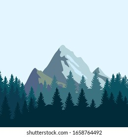 View of the mountain with pine trees. Smooth mountain background. Outdoor and hiking concepts. Vector illustration.