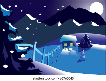 View of the mountains in winter - Christmas card