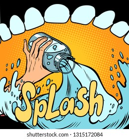 view from the mouth. refreshing water drink, SIP. bottle. Comic cartoon pop art retro vector illustration hand drawing