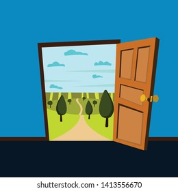 view of nature landscape from inside. open door to nature. Cartoon vector illustration.