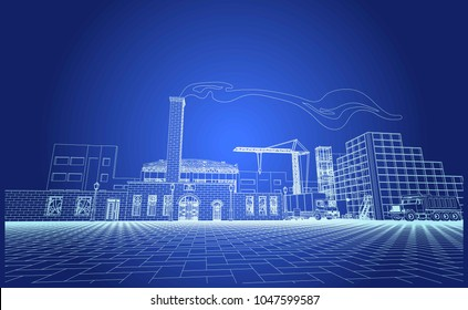 The view of the old factory, facades, elevation, chimney, telephone booth and street light, forged , bars, appliances, carriers, transport, industry, blueprint, 3d. Vector