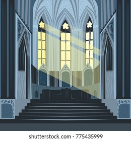 View on altar from nave inside Cathedral Church. Interior of Catholic Basilica with sun rays from windows. Simplified realistic hand draw comic art style. Vector illustration