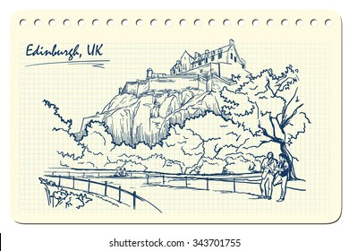 View on the Edinburgh Castle from the nearby park. Edinburgh, UK. Sketch imitating ink pen scribbling in a notepad. EPS10 vector illustration.