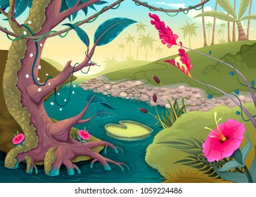 View on the forest with colored flowers and river. Cartoon vector illustration