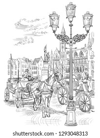 View on Grote Markt square in medieval city Bruges, Belgium. Landmark of Belgium. Horses, on market square in Bruges. Vector hand drawing illustration in black color isolated on white background.