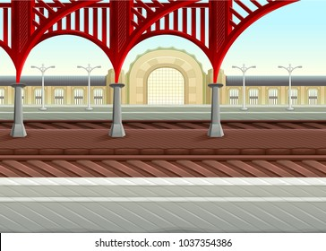 View on railways in the train station. Vector illustration