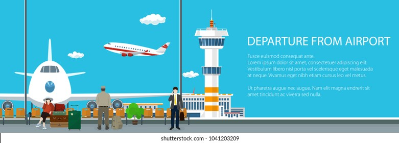 View on a Take-off Airplane and Control Tower through the Window from a Waiting Room at the Airport ,Banner of Passengers Waiting for Boarding a Plane, Vector Illustration