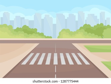View on traffic intersection with crosswalk. Green bushes and high-rise buildings on background. Flat vector design