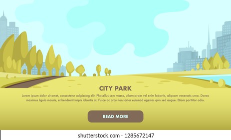 View Panorama City Park Center Big Metropolis. Place to Relax Family Weekend, Holiday. Morning Fitness Workout Outdoor. Small Green Corner Large Modern City. Building Silhouette