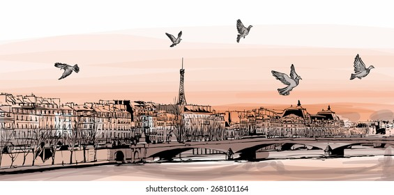 "View of Paris from ""Pont des arts"" - Vector illustration"