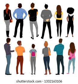 view of people behind. group of people. a set of vectors