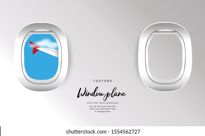 View plane window see plane fly at travel sky and cloud background blue vector