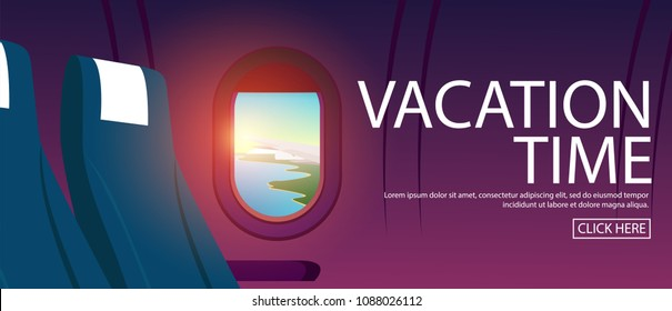 View of plane's cabin windows with view of plane wing can see tropical sea coast with clear sea water and blue sky in early morning sky with sunrise,and text-VACATION TIME in horizontal poster style